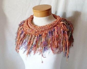 Fringe Triangle scarf Knit cotton cowl neck Light weight Bandana bib wrap Tangerine orange With confetti colors Spring fashion accessory