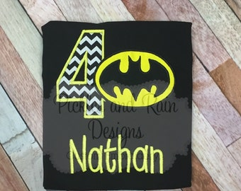 Personalized Batman and Batgirl embroidered birthday shirt.