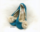 Wedding Ballet Flats, Teal, Champagne, Peacock, Elegant, Wedding Flats, Satin Flats, Reception, Ballet Slippers, Vintage Style, Prom, Shoes