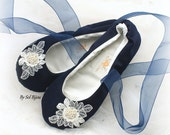 Navy Blue Flats, Ivory, Wedding Flats, Ballet Flats, Bridal, Shoes, Flats, Ballerina, Slippers, Lace Up, Flower Girl, Lace, Pearls, Elegant