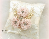 Ring Bearer Pillow, Ivory, Cream, Gold, Blush, Pink, Wedding, Lace, Crystals, Pearls, Elegant Wedding, Vintage Style, Gatsby