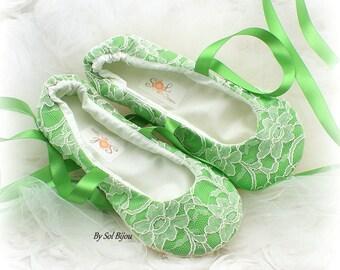 Ballet Flats, Moss Green, Green, Ivory, Elegant Wedding, Lace Flats, Bridal Flats, Lace Up, Shoes, Flats, Flower Girl, Ballerina Slippers