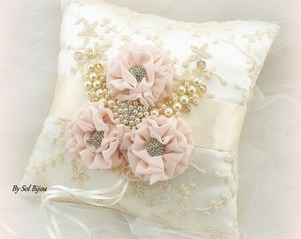 Ring Bearer Pillow, Ivory, Cream, Gold, Blush Ring Pillow, Blush, Lace Ring Pillow, Crystals, Pearls, Elegant Wedding, Vintage Style, Gatsby