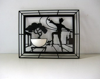 Vintage mid-century black and white picture 1950s wall decor
