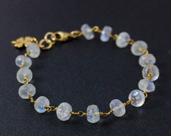 ON SALE Rainbow Moonstone Gemstone Bracelet – Choose Your Charm
