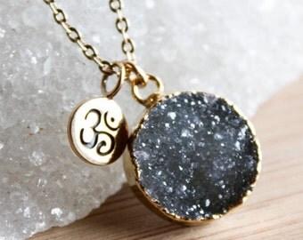 ON SALE Gold Black Druzy and Ohm Charm Necklace - 14K Gf - Yoga Jewelry, Zen