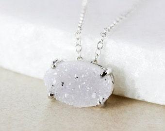 ON SALE Silver-Grey Druzy Pendant Necklace - Choose Your Druzy - Oval Cut