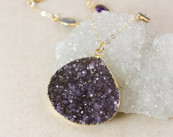 Statement Purple Druzy Necklace – Blue Labradorite and Purple Amethyst