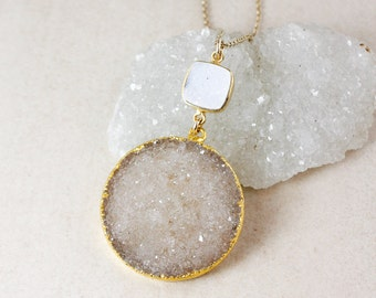 Brown and White Druzy Pendant Necklace – Choose Your Druzy – 14K Gold Filled Chain