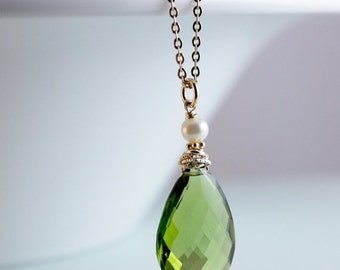 40 OFF SALE Gold Green Peridot Necklace - Peridot Quartz - August Birthstone Necklace, 14K Gold Fill