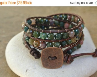 Summer Sale Deshi Jade Beaded Leather Wrap Bracelet