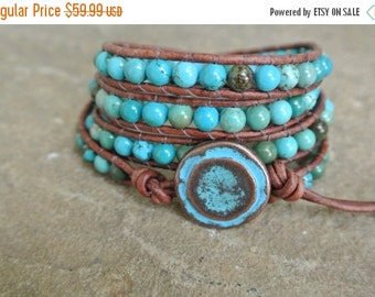 Summer Sale Zelia Turquoise Beaded Leather Wrap Bracelet