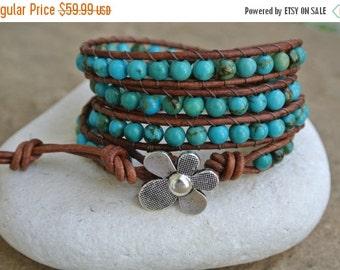 30% OFF SALE Artessa Turquoise Beaded Leather Wrap Bracelet