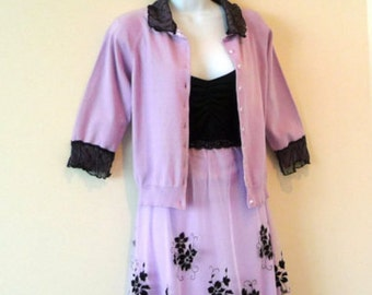 Sweater - Cardigan - Lavender Orchid - Silk Knit - Jumper - Black Lace - Romantic - Girly - Size Small - Eco Friendly - UNIQUE