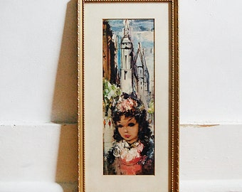 Vintage Mid Century Modern Art Print Framed Big Eye Style Girl in Europe 1960s.