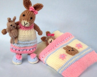 Bedtime Bunny plus tiny toy bunny and sleeping bag. Knitted rabbit doll pattern. INSTANT DOWNLOAD