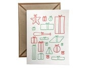 Christmas Presents and Gifts letterpress card