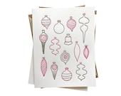 Midcentury Modern Vintage Christmas Ornaments letterpress card - set of six