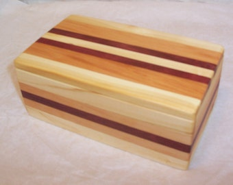 Handcrafted Wood Box Three Wood Mix