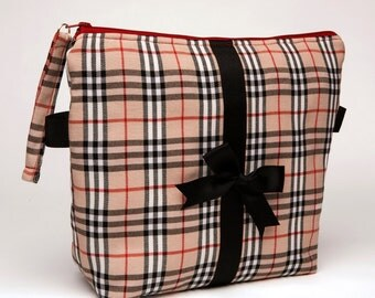 Cosemetic Bag / Toiletry Pouch/ Travel Tote/ Beauty Tote - Preppy Plaid with Black Bow Embellishment