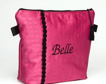 "Cosmetic Bag /Toiletry Pouch /Travel Tote /Beauty Tote - Hot Pink Croco Fabric -French ""Belle"" Tote"