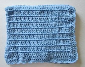 Crocheted Baby Blanket,  Blue, Boy Afghan, Baby Shower Gift