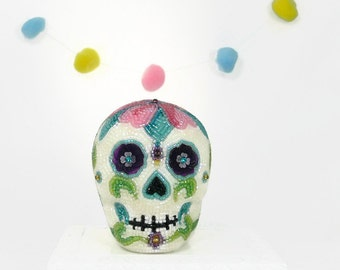 Day Of The Dead Skull Beaded Floral Día de los Muertos Decoration MADE TO ORDER