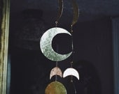 copper and brass hand cut moon phase wall hanging, moonphase, moon decor, moon wall hanging