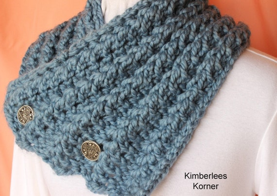 Knitting Pattern Button Up Knit Cowl Design by KimberleesKorner