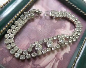 "Vintage Prom Wedding Formal Silver Tone Round Cut Rhinestone Stacked 9g Bracelet 6.5"" FREE Shipping"