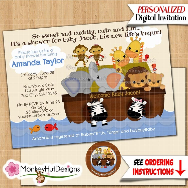 SS Noah39;s Ark Baby Shower Invitations S.S. Noah Noahs by monkeyhut