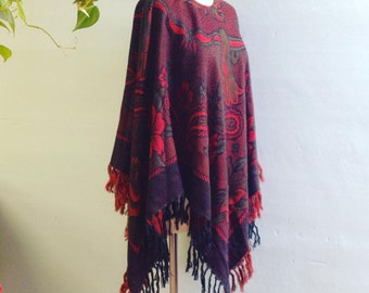 Paisley Floral Fringed Poncho