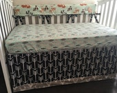 Bumperless 2 or 3 piece Oh Hello Meadows and Arrows Crib Set, Crib Bedding, Arrows Baby Baby Bedding, Forest Animals Crib Bedding
