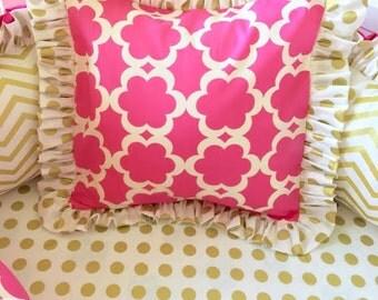 Ritzy Baby Hot Pink & Gold Pillow Sham 14 x 14 Accent Pillow, Decorative Pillow Shams
