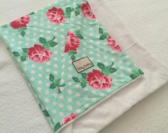 Lucy Aqua Rose Baby Blanket, Baby Blanket Lucy Aqua Rose, Choose Your Super Soft Minky Reverse