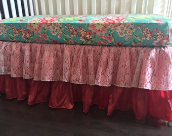 Ritzy Baby Lace and Coral Tiered Ruffle 3 or 4-Sided Crib Skirt