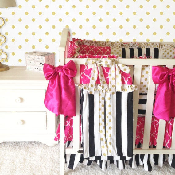 Black White And Pink Crib Bedding Damask