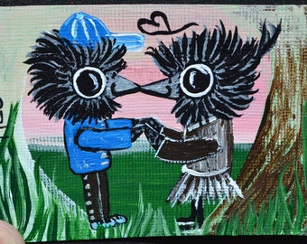 Baby Bird, Baby Crow, Aceo, Atc, Painting, Original Acrylic, First Kiss