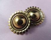 renoir copper sun earrings.  1950's MCM modernist clip-ons.