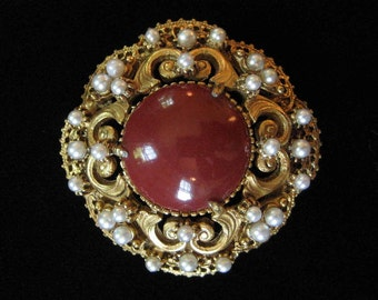 Florenza Brick Red and Pearl Victorian Revival Brooch