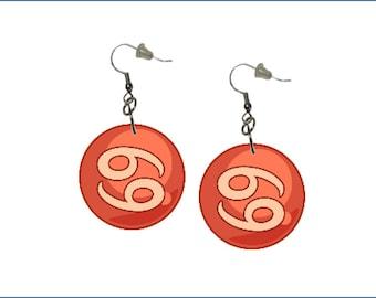 Zodiac Earrings Cancer Dangle Earrings Astrology Earrings Zodiac Symbol Cancer