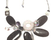 Statement Necklace One of a Kind Black White Modern Wire Wrapped Trends