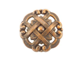 Fancy Weave Round Copper Mid Century Drawer Pull Vintage 1960s Shabby Chic Cupboard Pull Cabinet Hardware Industrial Salvage