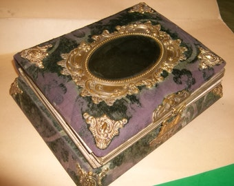 Antique Victorian Velvet Musical Photo Album with Mirror Cover and Hardware / WORKS