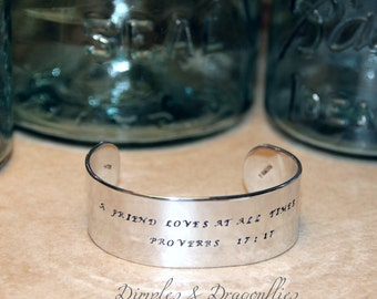 Friend Gift | A Friend Loves At All Times | Proverbs 17:17 | Hand Stamped | Hidden Message | Name Bracelet | Custom | Personalized | For Her