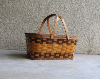 Vintage Picnic Basket Rustic Primitive Wicker Woven Wooden Hinged Lid Wedding Decor Shabby Cottage Chic Farm Homesteading Storage