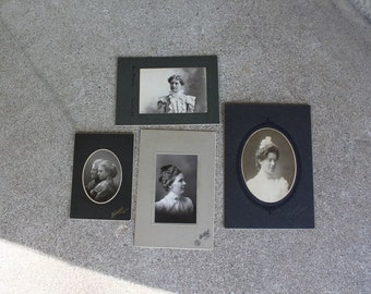 Antique Photographs Portraits Set Four Matted Professional Victorian Women Mother Daughter Lace Ruffles Sepia Photography Art Supplies 1900s