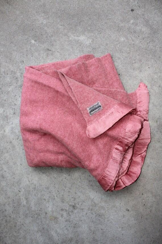 Vintage Wool Blanket Pink Satin Trim Marshall Fields Fieldcrest Felted Bedding Winter Warm