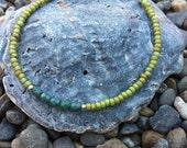 Green Beaded Friendship Bracelet, Stackable, Simple, Delicate Jewelry, Gypsy, Boho, Rustic, Earthy, Bangle