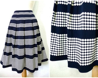 Vintage skirt Polka Dots Navy Blue Cotton pleated Skirt Size Medium